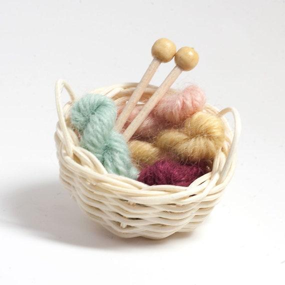 Stash Basket Brooch - Mini Yarn Skeins and Knitting Needles