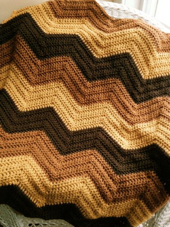 Crochet Knit Bold Chevron Zig Zag Ripple Baby Toddler Blanket