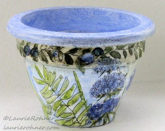 Hand Painted Decorative Clay Pot Herbs and Flowers