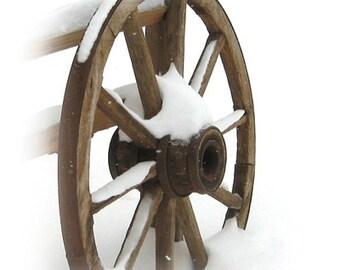 Wagon Wheel - Wooden Wagon Wheel - Snow - Wagon Wheel in the Snow - Rustic Wagon Wheel - Fine Art Photography