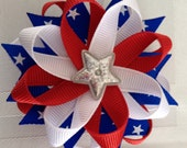 Patriotic USA Fourth of July Hair Bow 4th Fireworks Red White Blue American  Day Sparkling SILVER Star Spangled Bow
