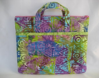 Tote bag for laptop, ipad, tablet, e-reader Kindle Nook etc - OOAK - batik cotton