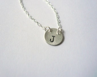 Monogram necklace. Silver initial necklace. Initial jewelry. Small silver dot necklace. Personalized silver necklace. Sterling silver dot.