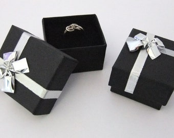 Bowtie Ring Box Lot Of 12 Black In SALE