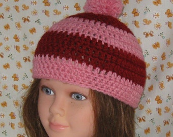 Crochet Hat, Cranberry and Pink, Peg