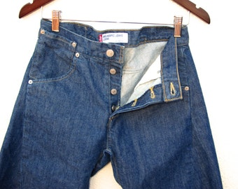 RARE Levis Engineered Loose Blue Jean SHORTS Unisex Mens Size 29 Cinch Back Twisted Seam Japan Button Fly