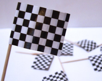 12 Racing Flags Cupcake Picks