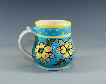 Handmade Pottery Mug, Pretty Floral Design, Yellow Flowers on Turquoise, Hand Painted Ceramic SKU153-2