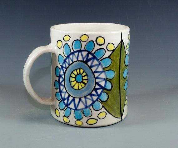 Handmade pottery mug painted design ceramic coffee mug with for Handmade mug designs