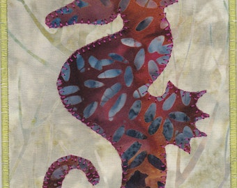 Seahorse Quilted Fabric Postcard