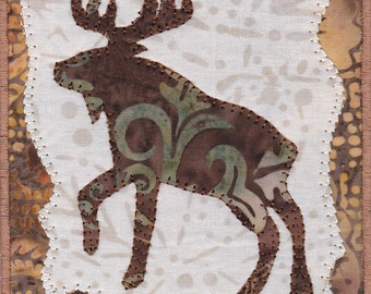 Handmade Moose Appliqued Quilted Fabric Postcard