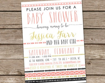 Baby Shower Invitation: Aztec Tribal Invitation, Printable Custom Girl Aztec Tribal Invite, Aztec Baby Shower, Tribal Baby Shower, Boho Baby