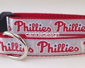 Dog Collar, Phillies, 1 inch wide, adjustable, quick release, metal buckle, chain, martingale, hybrid, nylon