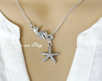Lariat Style Seahorse and Starfish Necklace