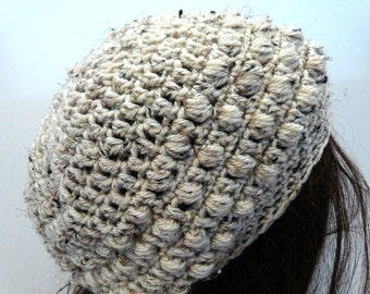 Crochet Slouchy Hat in Off White, Oatmeal Colored, Tan, for Teens and Women, Beret, Rasta, Beanie