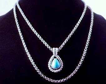 Avon Faux Turquoise Necklace and Earrings with Silver Finish