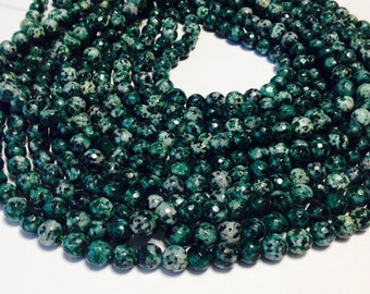 "Green spotted Agate faceted round beads whole 15"" strand real gemstone beads"