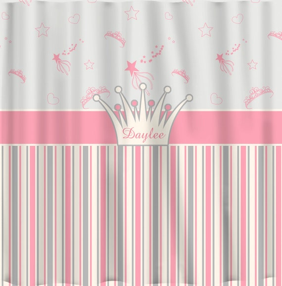 Items Similar To Tiaras And Stripes Shower Curtain Princess Theme In Pink Grey Off White