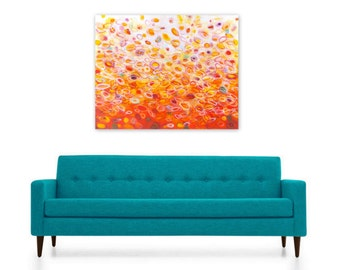 Digital Print, Abstract Painting, Instant Download, orange red yellow ombre white circles DIY reproduction, Heat Wave by Jessica Torrant