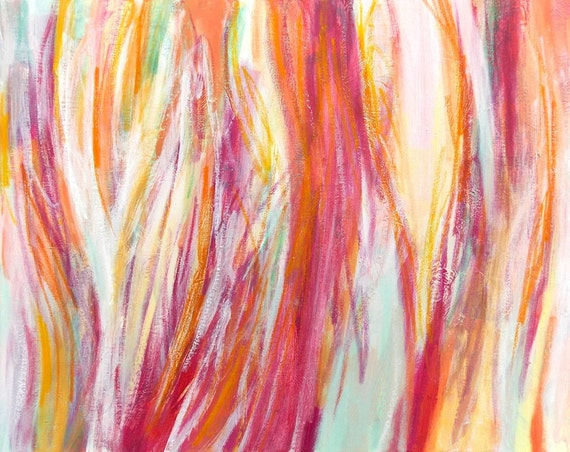 Original Abstract Painting 16x20 Acrylic Canvas Wall Art Modern Home Decor red magenta pink orange white yellow mint green Grateful Heart