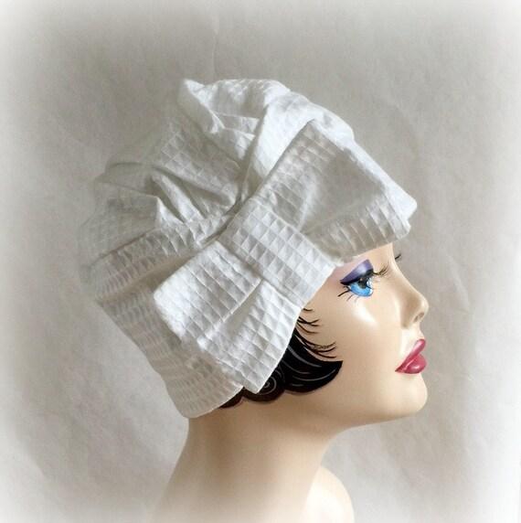 white hat flapper turban cloche cool comfortable cotton
