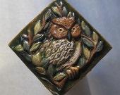 Mysterious Great Horned Owl with Colorful Plumage in a Woodland Setting. Full Sculpted Relief Tile by Forest House.