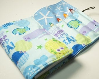 Mini Crayon Wallet - Deep Sea in Blue - sea creatures theme.birthday gift.art wallet - Crayons and Pad NOT INCLUDED
