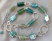 PRICE REDUCED: Ancient Roman Glass and Hammered Oval Link Silver Necklace