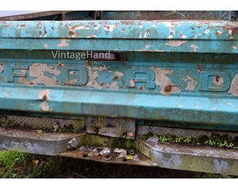 Ford Truck Digital download / Vintage Ford bed / moss turquoise white / rustic chippy / Man Cave / Photograph / Art download / Home Decor