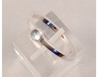 Sterling silver ring  set with aquamarine