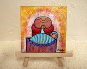Jizo Painting - mini original - Jizo Says Bless This Child with Love