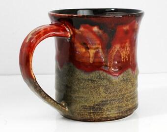 18oz Mug Ceramic Red and Brown Ceramic Mug Large
