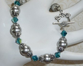 Silver Grey Swarovski Pearls with Teal Blue Swarovski Crystal Bracelet -    B1691