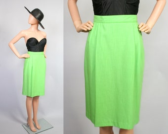 Vintage High Waisted Pencil Skirt / Wiggle Skirt / Neon Green / 80s Electro Retro / 1980s  / Medium