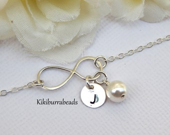 Personalized Infinity  Bracelet With White Pearl And Hand Stamped Disc Friendship Bracelet Sterling Silver Initial Bracelet