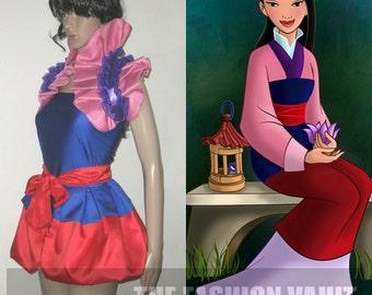 Sample sale free shipping Mulan Princess Cosplay Apron peplum burlesque bustle skirt and collar bolero wrap Frenchmaid