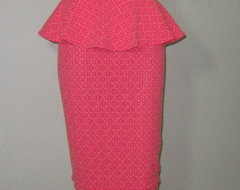 High Waist Pencil skirt ELECTRIC Hot Pink Coral Lace