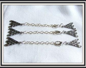 Silver extender,  4 inch extender, 1 piece, 3 loop connector, Enhancer, Necklace Enhancer,  Soldered links #1076