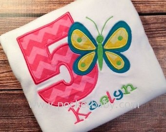 Personalized Butterfly Birthday Shirt - Personalized Butterfly and Number Shirt - You Choose your Fabric - by Pocketbaby