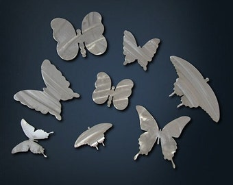 Stainless Steel Butterfly Art Magnet Set of Three