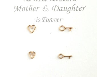 Mother Daughter Earrings. 2 Pairs Gold Heart Key Studs Set. Mother's Day Earrings