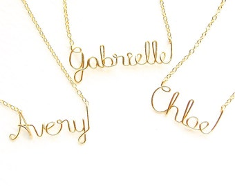 Gold Child Name Necklace. Kids Name Necklace. Custom Girls Kids Necklace.
