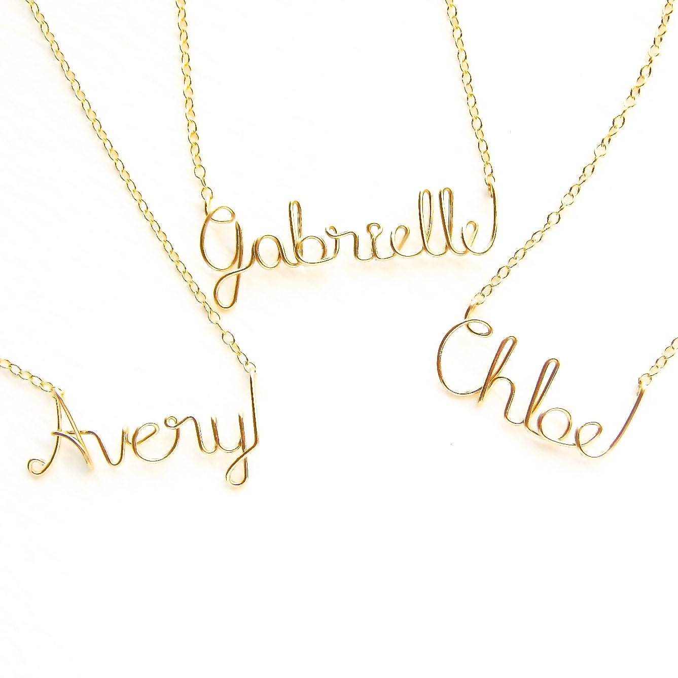 gold child name necklace name necklace custom