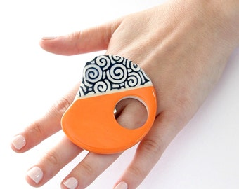 Ceramic Statement Ring -   Spring Celebration big ring handmade gift for her adjustable cocktail ring -  TROPICANA -  2.6 inch