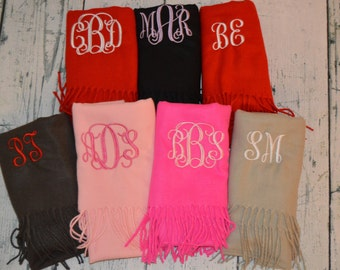 Personalized Scarf Fall Winter Monogrammed Cashmere Feel Scarve