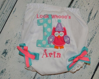 Personalized Birthday Owl BLOOMERS Diaper Cover  Monogrammed