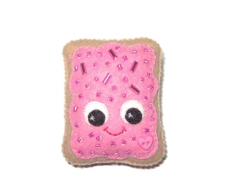Pop Tart Brooch - Fairy Kei Pin - Kawaii brooch - Pink Poptart - Sprinkle Toaster Pastry - Kawaii Pins - Cute Food Gifts