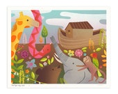 Two By Two Sail the Blue Noah's Ark Illustrated Art Print