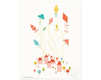 Let's Go Fly a Kite Illustrated Art Print