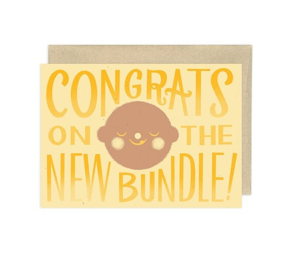Congrats on the New Bundle, Yellow, Illustrated Congrats Card